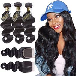 QTHAIR 10A Brazilian Body Wave with Closure 100% Unprocessed