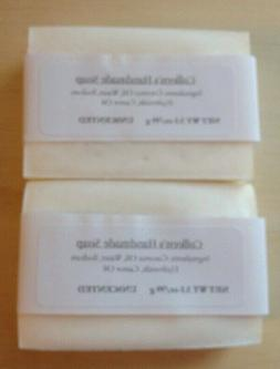 2 unscented handmade soap bars coconut oil