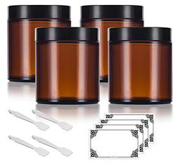 Amber Glass Straight Sided Jar - 4 oz  + Spatulas and Labels