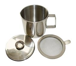 Basic Needs Bacon Grease Keeper Container with Strainer, Sta