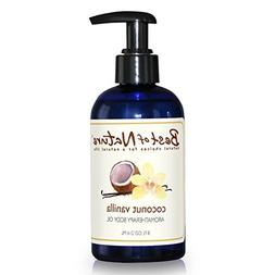 Coconut Vanilla Aromatherapy Body Oil - 8oz - 100% Pure & Na