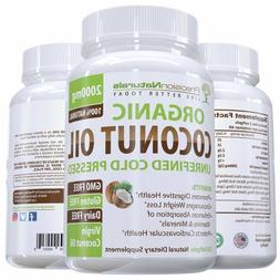 B Organic Coconut Oil Capsules / Pills 2000mg/Serving Virgin