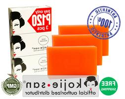 3 BARS KOJIE SAN KOJIC ACID w/ GLYCERIN SOAP SKIN LIGHTENING