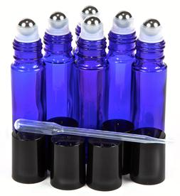 Blue Glass Roller Bottles With Stainless Steel Roller Ball f