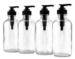 8-Ounce Clear Glass Pump Bottles , Great as Essential Oil Bo