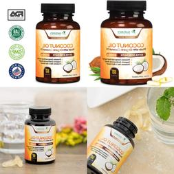 Coconut Oil Capsules Extra Virgin Organic MCT 2000Mg Cold Pr