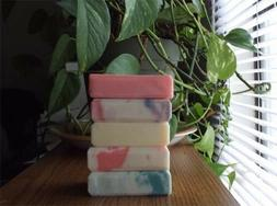 Handmade Soap 5-Bars  Vegan Natural Olive, Coconut Oil, Shea