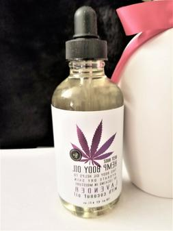 HEMP BODY OIL W/LAVENDER & COCONUT OIL 4 FL. OZ. NEW