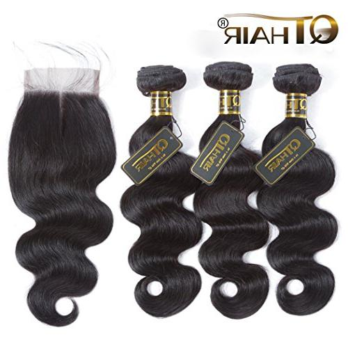 QTHAIR Brazilian Wave with Closure Wave 4x4 Swiss Lace