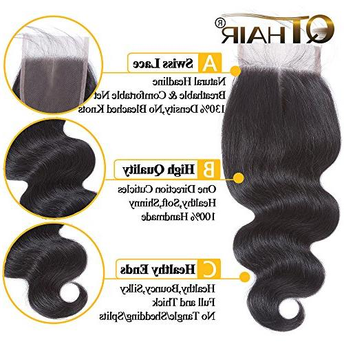 QTHAIR 10A Body Wave with Closure Unprocessed Wave Hair with 4x4
