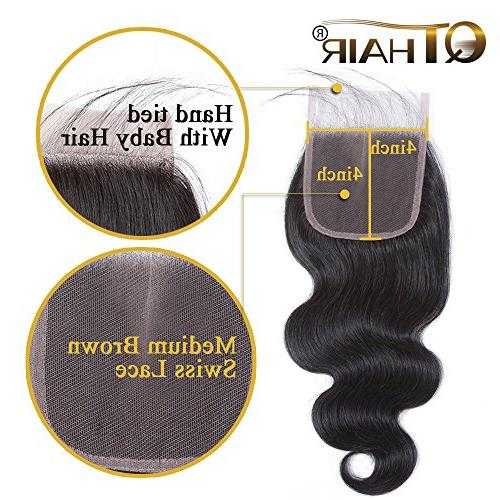 QTHAIR 10A Body Wave with Closure 100% Unprocessed Brazilian Wave with 4x4 Swiss