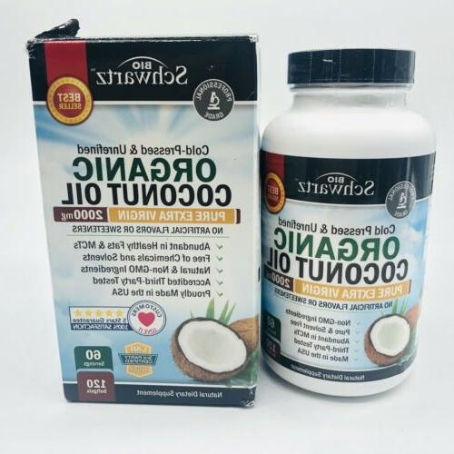 2000mg organic coconut oil dietary supplement 120
