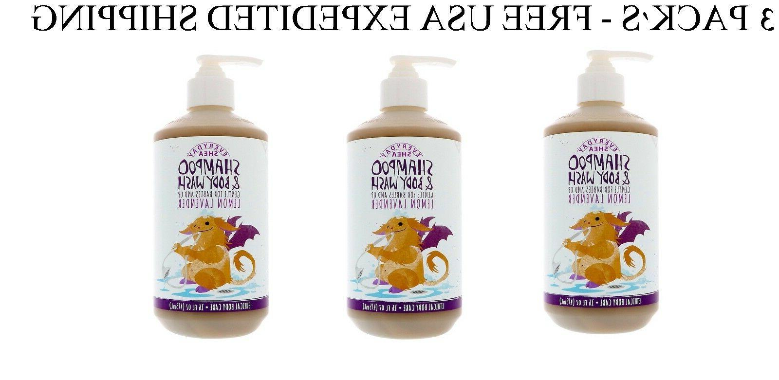 3 PACK'S-Everyday Shea,Shampoo&Body Wash,Gentle for Babies A