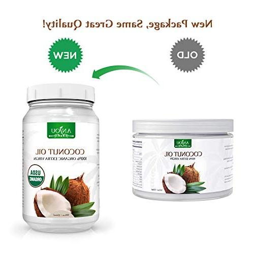 Anjou Coconut Extra Virgin, Cold Pressed Unrefined for Hair, Cooking, Certified, 11