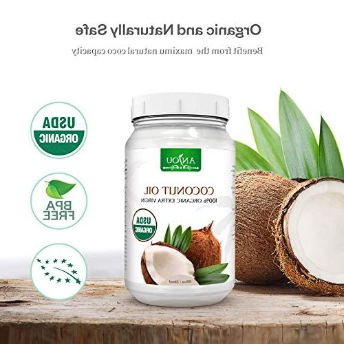 Anjou Coconut Extra Virgin, Pressed Unrefined Hair, Skin, Cooking, Health, Certified,