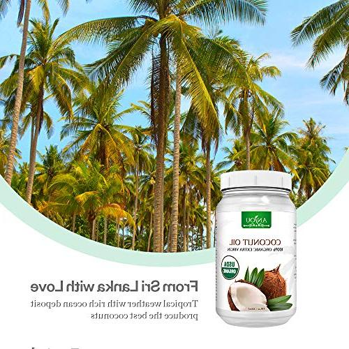 Anjou Coconut Oil, Organic Extra Virgin, Cold Pressed Unrefined Hair, Skin, Certified, oz