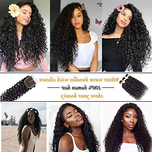 Brazilian Wave with Bundles Wet and Hair with Closure Swiss Lace Part
