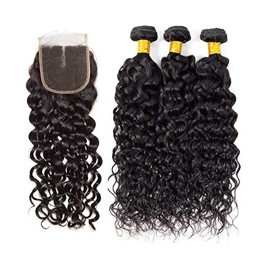 Brazilian Water Wave Bundles with Closure 3 Bundles Wet and Wavy Human Hair Closure Swiss Lace