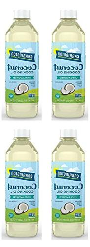 Carrington Farms Coconut Cooking Oil, 16 Ounce, 4 Pack