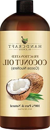 Fractionated Coconut Oil 100% & Natural Premium Huge 16 Aromatherapy, & Hair