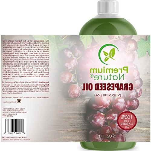 Grapeseed Pure Oil - Cold for Essential Natural Moisturizer Body & for Hair oz