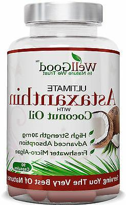 Natural Vegan Astaxanthin 30mg  with Coconut Oil 90 x by Wel