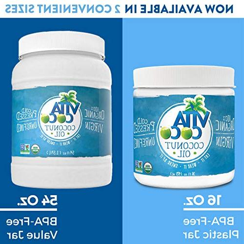 Vita Coco Coconut Oil, 54 - Pressed Free Oil - Used Cooking for Moisturizer Hair BPA Free