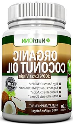 ORGANIC COCONUT OIL Capsules - 180 Softgels - 4000 MG Daily