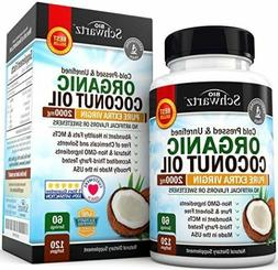 Organic Coconut Oil 2000mg. Highest Grade Extra Virgin Cocon