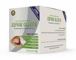 Premium Eyelid Wipes with Tea Tree and Coconut Oil - Cleansi