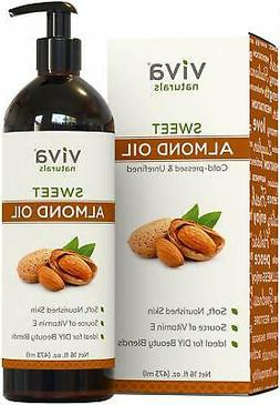 Sweet Almond Oil 16 fl oz, 100% Pure and Hexane Free, Ideal