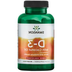 Swanson Vitamin D-3 with Coconut Oil 60 Sgels