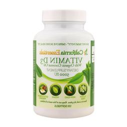 Vitamin D3 5000 IU with Organic Coconut Oil 120 Softgels Glu