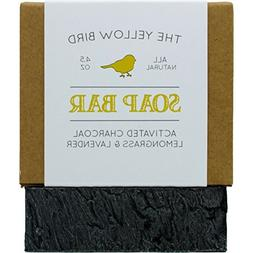 The Yellow Bird Activated Charcoal Soap Bar. All Natural Det